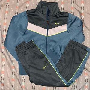 Blue, grey, lime green, & white Nike jumpsuit sz 5